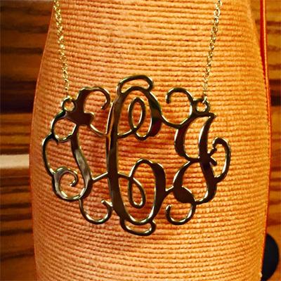 2 inch Gold Monogram Necklace