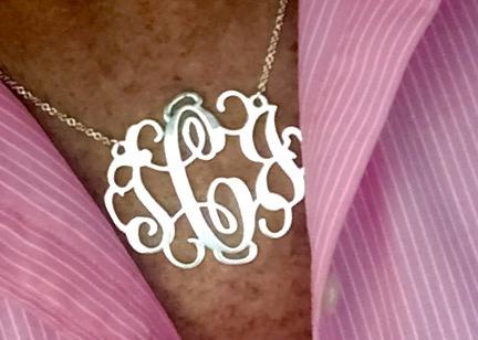 2 inch Silver Monogram Necklace