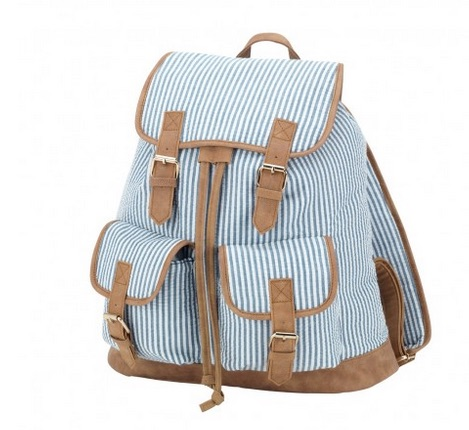 Navy Sersucker Campus Backpack